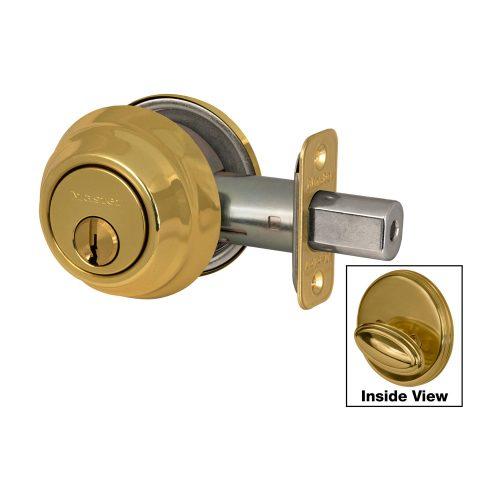 Master Deadbolt Single Cylinder DSH0605-S Polish Brass